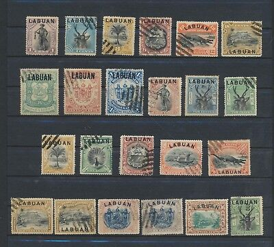 Labuan on North Borneo  handstamped  23 stamps - no damage no thinned
