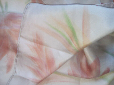 French Vintage silk hand rolled edged large abstract scarf