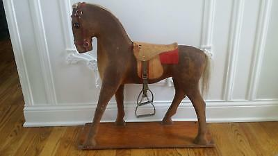 Rare Antique Pull Platform Horse Late 1800's to Early 1900's 28 inches tall