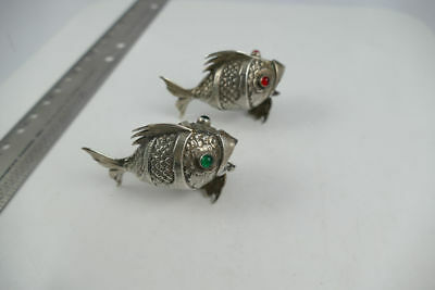 Fine Pair Sterling Silver Spanish Figural Fish Salt / Pepper Shakers RARE! EUC