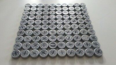 100 Gray Coca Cola Coke Plastic Bottle Caps for Crafts and/or Trade in Points.