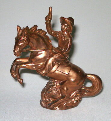 Vintage Copper / Bronze Horse And Cowboy With Gun Figurine From Occupied Japan