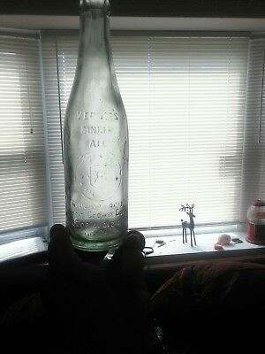 Antique Bottle Vernor's Ginger Ale Glass Raised Letters Detroit, MI 10 OZ