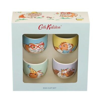 Bnib Cath Kidston Pets Party Boxed Set Four Egg Cups Guinea Pig Hamster Kitsch