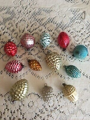 Lot of 12 Acorn Pine Cone Grapes Bumpy Christmas Ornaments Germany USA