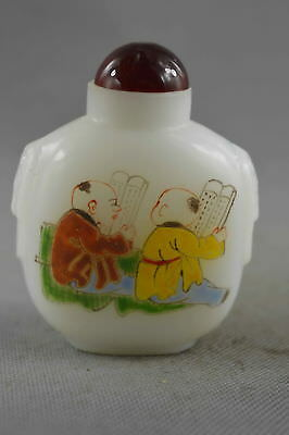 Collectable Handwork Old Aagte Paint Child Play Games Special Royal Snuff Bottle