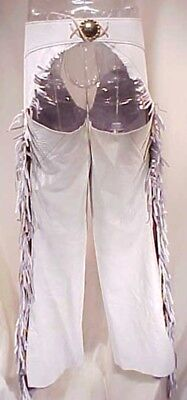 White Leather Fringed Riding Chaps Women's Fancy Rodeo Medium
