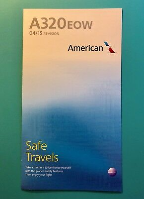 American Airlines Safety Card--Airbus 320 Eow