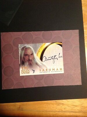 Saruman Christopher Lee signed Lord of the Rings TOPPS Card