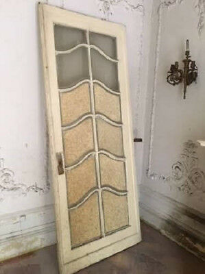 French Doors used as Pocket Door pair antique painted 12 pane curvy glass 1800s
