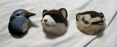 Vintage Life's Attractions Fuzzy Magnets: Badger, Ferret, Bluejay New Old Stock