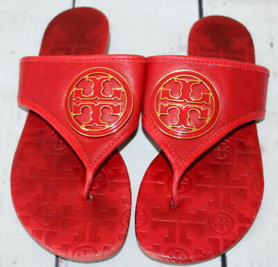 6c1d00dac TORY BURCH 🌷 Red Soft Leather Thong Sandals 🌷 Gold Medallion Size 6 M