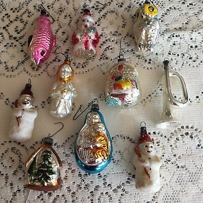 Lot of 10 Figural Mercury Glass Mica Christmas Ornaments West Germany Austria