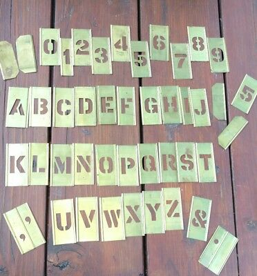 "Vintage  Adjustable Brass 1"" Stencils in Box - Letters & Numbers 1 inch complete"