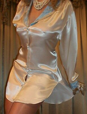 Vtg Lily of France Front Button Long Sleeve Satin Babydoll Nightgown Lingerie M