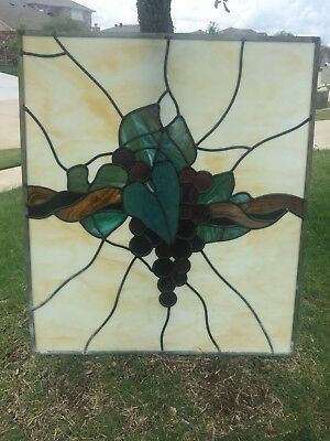 """Huge Vintage Grape Cluster Stain Glass w Holes For Hanging Hooks  27"""" x 31"""""""