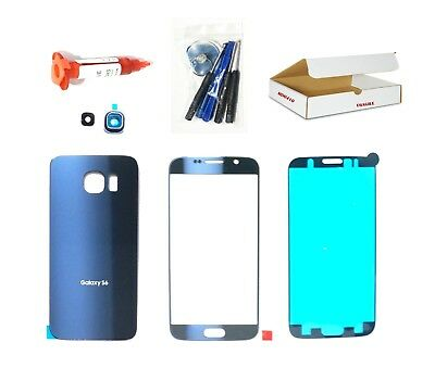 Black Sapphire Blue Front Back glass lens cover replacement Fit Galaxy S6 G920