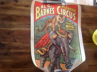 AL G Barnes Wild Animal Poster Circus World Museum 1960  13 x 19 Elephant Tiger