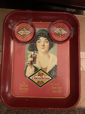 vintage advertising serving tray & Coasters Cheerwine