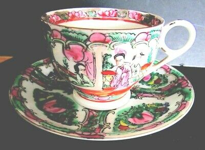 Antique Rose Medallion & Rose Canton Cup & Saucer A Working Marriage Nice