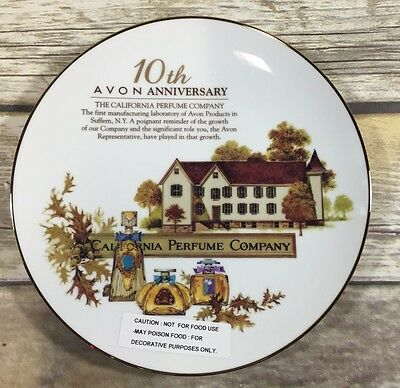 Avon 10th Anniversary Perfume Company Plate Gold Trim Collectable Award NIB