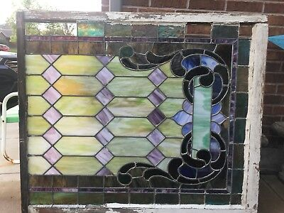 "Antique Victorian Stained Glass Window 52"" X 49"" From Whitesboro, Tx Church"