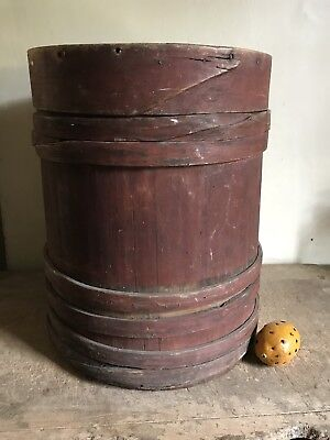 HUGE Early Antique Handmade Wooden Original Red Paint Firkin Lap Band AAFA