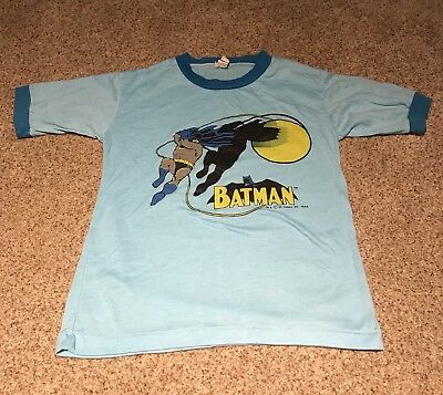 Vintage Batman DC Comics 1966 Tshirt Shirt Kids Large JCPenny 60s 70s Ringer