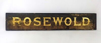 Early-Mid 19Th C Antique Wooden Sign Rosewold W/black Paint, Gold Gilt Lettering