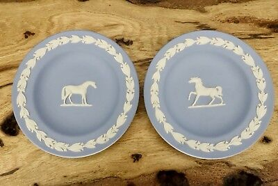 Vintage Pair Wedgwood Blue Jasperware Horse Pony Small Plates 4.5 Inch England