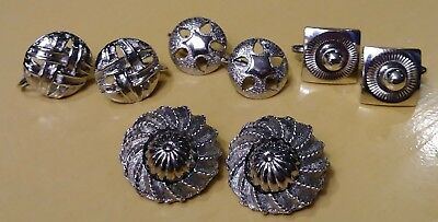 Lot of 4 Pair Vintage Silver Tone Earrings (Clip-on, Screwback and Combo)