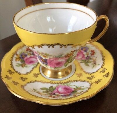 Vintage EB Foley 1850 Bone China Yellow Teacup Cup & Saucer Large Rose Bouquet