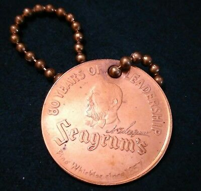Old vintage 1937 Seagram's Whiskey advertisment keychain key fob token 80 years