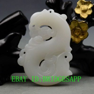 Chinese Natural Hetian Jade Hand-Carved Phoenix Shape Pendant  A31