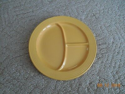 "Vintage Fiestaware YELLOW Compartment Plate Fiesta 10.5"" Divided Grill"