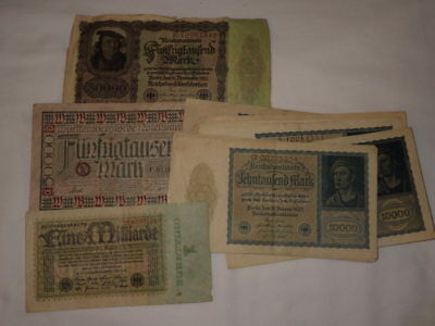 Lot of 14 German Bank Notes, Reichsbanknote, Wurttembergische Note, early 1920's