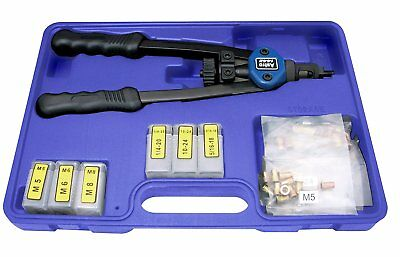 Hand Rivet Gun Nut Setter Kit 13in Metric SAE Quick Change Head w/ 60pc Nuts