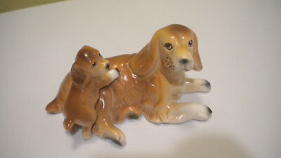 English Cocker Spaniel Figurine MOTHER w/ PUPPY Dog UP ON Her RIES Japan