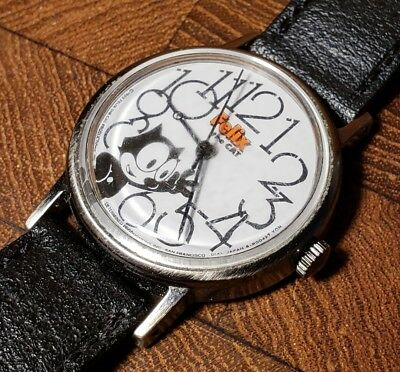 Rare Vintage Felix the Cat Mechanical Wind Character Watch