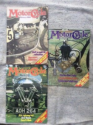 The Classic Motorcycle Magazine - Jan-Mar 1984 , 3 Issues , Collectors Items Fre