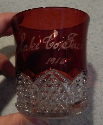 Lake County Fair - Illinois -  1916 Ruby Flash Handled Cup