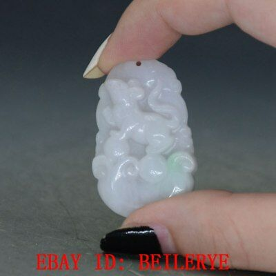 100% Natural Jadeite A Jade Hand Carved Zodiac Mouse Pendant BY01