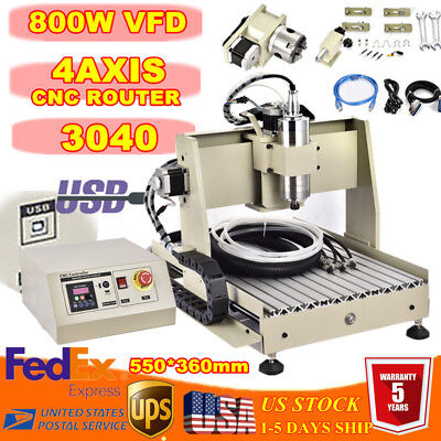 USB! 3040 4 AXIS CNC Router Engraving Machine for Wood Acrylic Desktop 3D Cutter