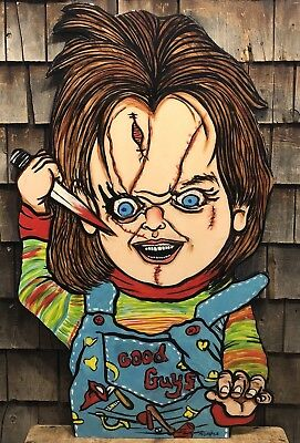Amazing One Of A Kind Hand Painted CHUCKY Doll Large Sign Super Condition 44x26