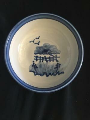 """Louisville Pottery BOWL 6.25"""" painted blue house, clouds, fence EXCELLENT cond"""