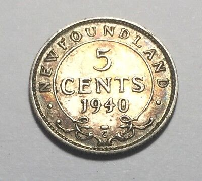 British Newfoundland 1940 Five Cents Silver Coin - King George VI