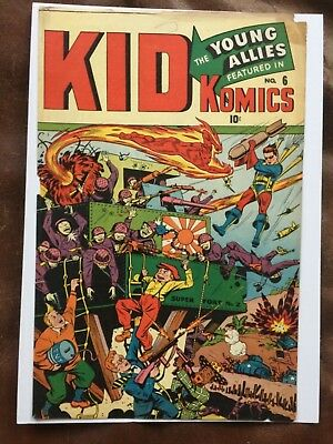 Rare 1944 Golden Age Kid Komics #6 Front And Back Cover Only