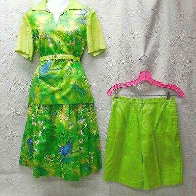 """50's Vintage """"butterfly Garden"""" Watercolor Print 3 Pc Set-Top-Skirt-Shorts-10"""