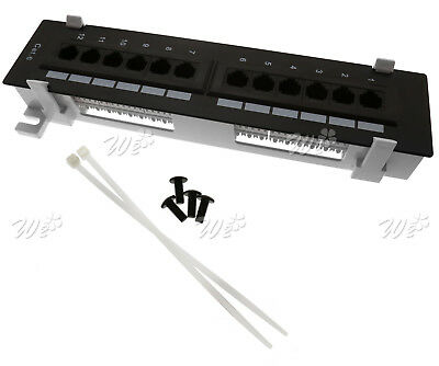 12 Port Cat6 RJ45 Wall Mount Surface Mount 110 Patch Panel With Mounting Screws