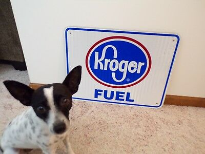 Authentic KROGER FUEL Interstate Exit Ramp Sign Reflective Aluminum~18x24